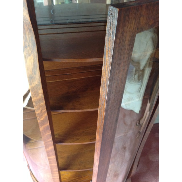 Antique Tiger Oak Curved-Glass China Cabinet - Image 5 of 9
