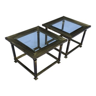 Brass Picture-Frame Side Tables by Mastercraft - Pair