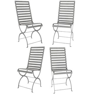 Mid-Century Iron Slatted Chairs