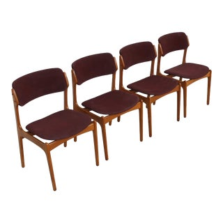 Set of 4 Danish Modern Dining Chairs in Teak by Erik Buch