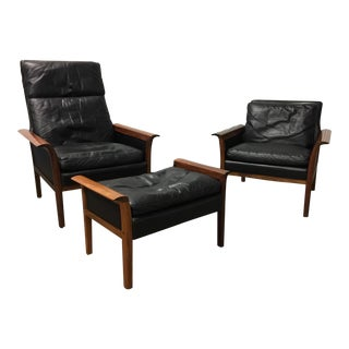 Vatne Møbler Rosewood & Leather Chairs - Set of 3