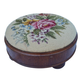 Art Deco Rose Petite Point Foot Stool