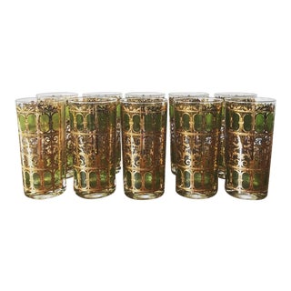 22k Gold MCM Culver Glasses, Set of 10