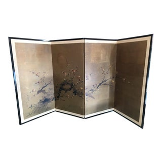 "Vintage 4-Panel Japanese Folding Screen ""Plum Blossoms in Early Spring"""