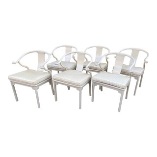 Antique Chinese Ming White Lacquer Horseshoe Dining Chairs - Set of 6