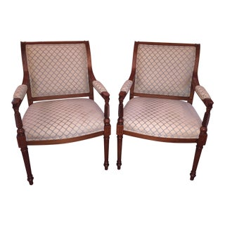 Beige & Blue Occasional Armchairs - A Pair