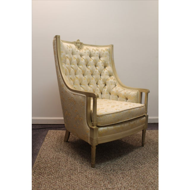 Vintage Tufted Back Louis XV French Bergere Chair - Image 3 of 11