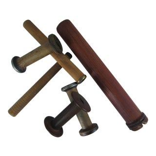 Vintage Industrial Wood Spools - Set of 6