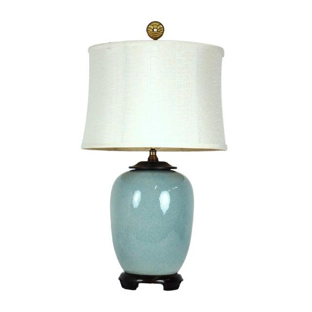 Vintage Blue Ceramic Crackle Lamp - Image 1 of 7
