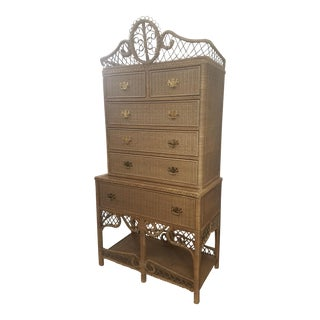 Vintage Ralph Lauren Safari Wicker Highboy
