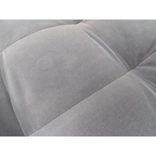 Shadow Gray Velvet Sectional, Left Chaise, Tufted Seating - Image 4 of 6