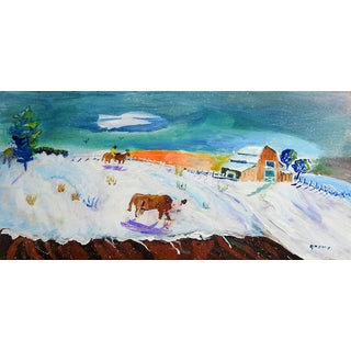 Folk Art Farm Scene Painting