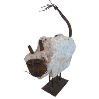 Brutalist Found Material, Travertine and Copper Cat Sculpture