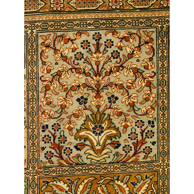 "Hand Knotted Pure Silk Persian Qom Rug - 4'10"" x 4'10"" - Image 2 of 9"