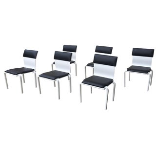Black and White Mid-Century Modern Dining Chairs - Set of 6