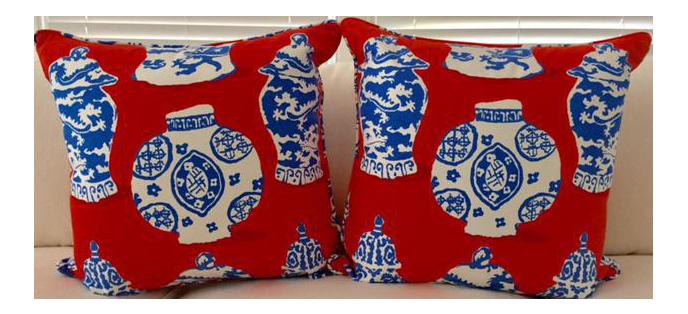 Dana Gibson Persimmon Red White Blue Pillows A Pair Chairish