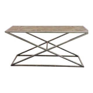 Sarreid Ltd. Chrome & Oak Console Table