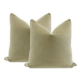 """22"""" Velvet Pillows in Spanish Moss Green - A Pair"""