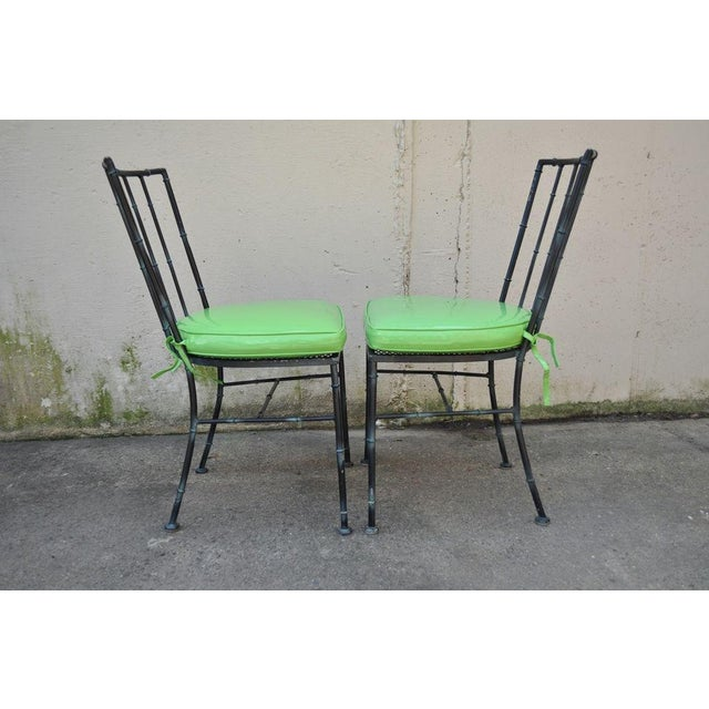 Vintage Mid Century Modern Hollywood Regency Metal Faux Bamboo Dining Chairs - Set of 4 - Image 4 of 11