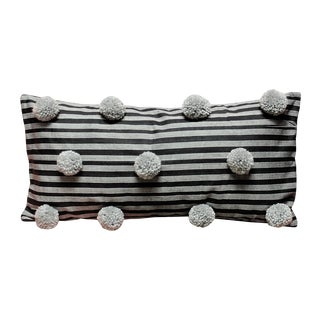 Black Handwoven Lurik Striped Pillow with Concrete Grey Pom-Poms
