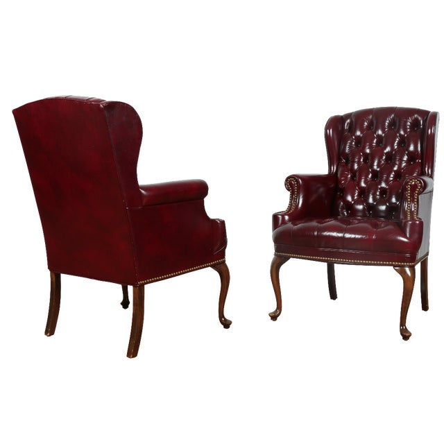 Schaffer Bros Burgundy Leather Chairs - A Pair - Image 1 of 11