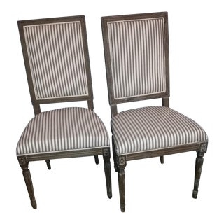Gustavian Style Grey Striped Chairs- A Pair