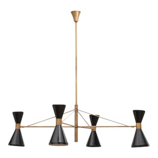 Italian 1950s Chandelier in Brass with Black-Lacquered Diabolo Lamps