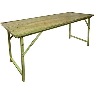 Green Vintage Wood and Steel Frame Folding Table