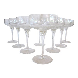 Gorham Jolie Etched Crystal Cocktail Coupes - S/8
