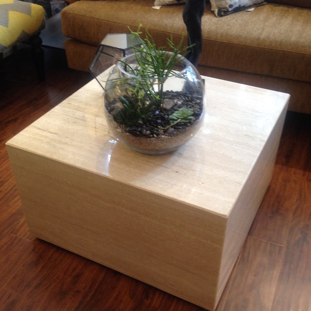 Vintage Travertine Cube Table - Image 4 of 7