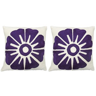 "Judy Ross Purple ""Big Rosette"" 18x 18 Pillows - 2"