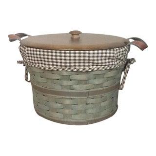Americana Wood & Leather Basket