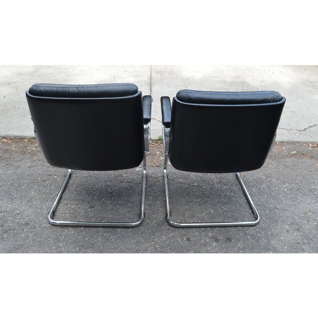 Mid-Century Leather & Chrome Club Chairs - a Pair - Image 5 of 7