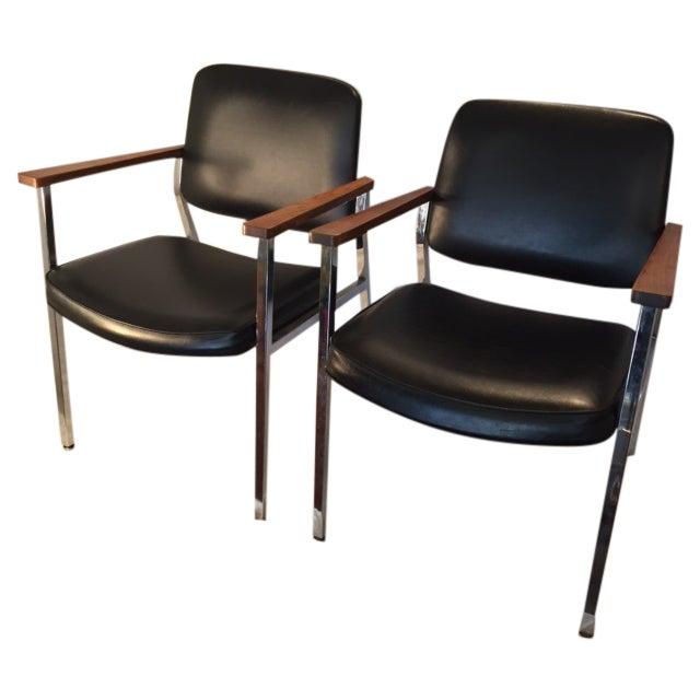 Mid-Century Chrome & Walnut Armchairs - A Pair - Image 1 of 7