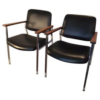Mid-Century Chrome & Walnut Armchairs - A Pair