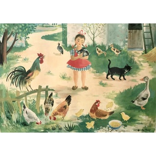 Vintage French Farm Girl Poster