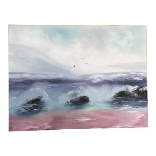 Crashing Waves Vintage Painting