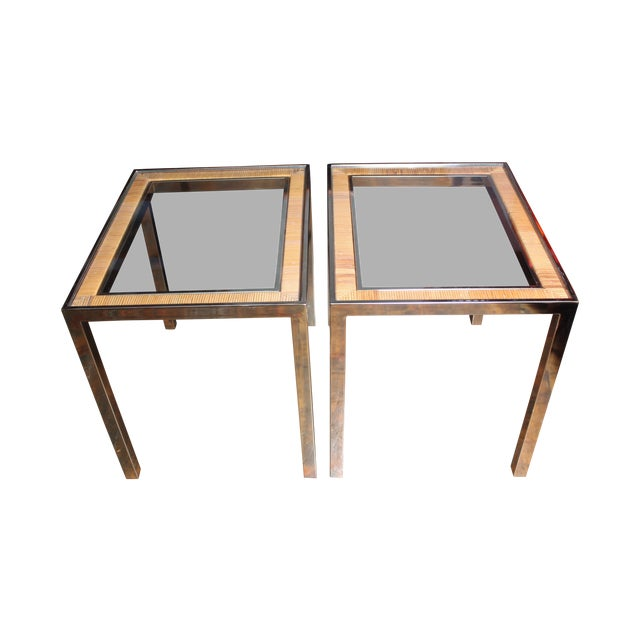 Image of 1970s Rattan and Brass Side Tables After Crespi