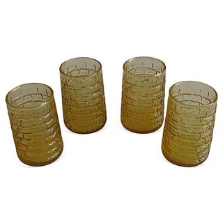 Mid-Century Faux Bamboo Amber Glasses - S/4