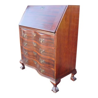 1940s Mahogany Chippendale Style Serpentine Slant Top Desk ~ As Is ~