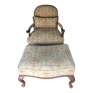 Classic Louis XV Style Chair & Ottoman - A Pair