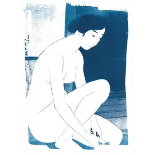 Japanese Ukiyo-e Woman Bathing Image Cyanotype