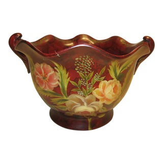 Floral Motif Bowl in Red Velvet