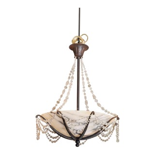 Contemporary French Alabaster Bowl Chandelier