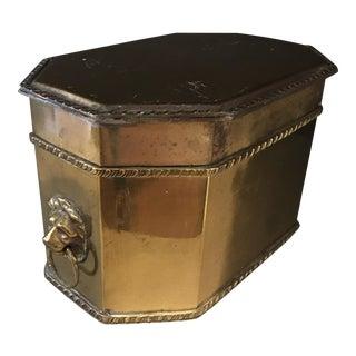 Antique Brass Lions Head Box