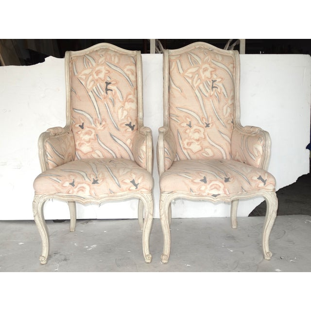 French Country High Back Bergeres - A Pair - Image 2 of 7