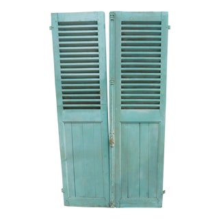 Circa 1890 French Green Aqua Shutters - A Pair