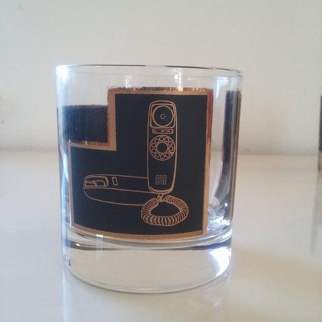 Black & Gold Phone Rocks Glasses - Set of 5 - Image 6 of 6