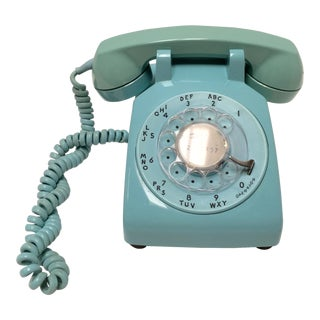 Vintage Turquoise Blue Dial Desk Telephone