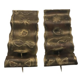 Brutalist Mixed- Metal Sconces With Engraved Design - a Pair